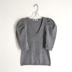 Zara   Gray Puff Sleeve Fitted V-neck Sweater Top
